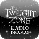 Slika prikazuje logotip Zone sumraka sa stiliziranim tekstom The Twilight Zone Radio Dramas na sivo crnoj tamnoj podlozi
